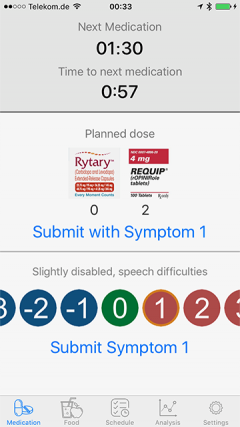 Parkinson's Disease Watch App - Submit Symptom
